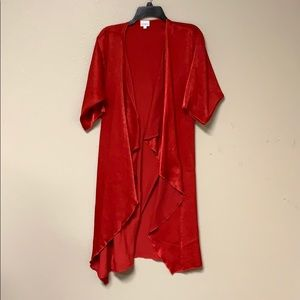 LuLaRoe Red Flowy Cover Blouse (S)
